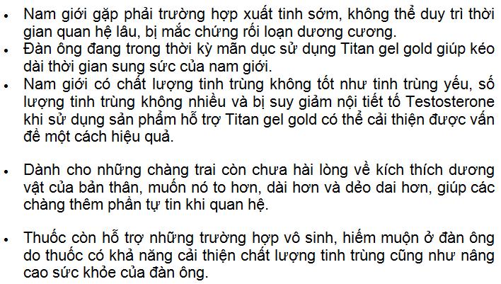 Cách sử dụng Titan Gel Gold
