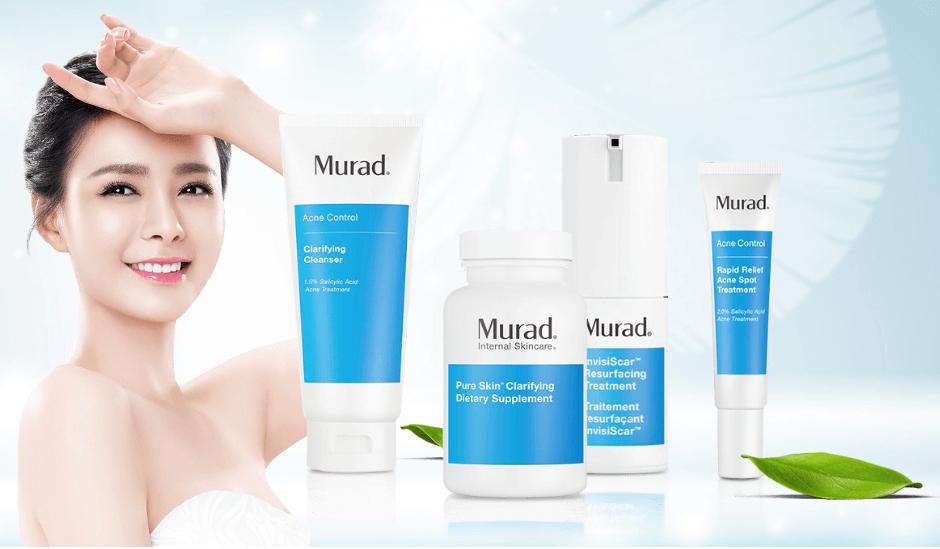Bộ Trị Mụn Murad Có Tốt Không; sữa rửa mặt clarifying cleanser; viên uống giảm mụn và bộ đôi the fast fixers; Gel trị mụn Murad Rapid Relief Acne Spot Treatment; InvisiScar Resurfacing Treatment;
