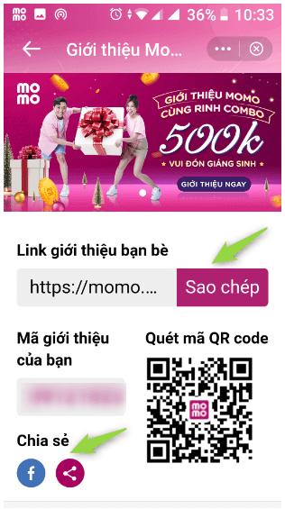 Cách giới thiệu bạn bè đăng ký ví điện tử MoMo để cả 2 cùng nhận 500k